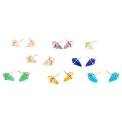 18 Karat Gold and Lapis Post Earrings