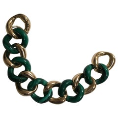 18 Karat Gold and Malachite Link Bracelet