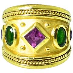 18 Karat Gold and Multi Tourmaline Stone Ring