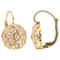 18 Karat Gold and Old Cut Diamond Cluster Earrings