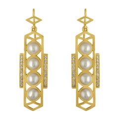 18 Karat Gold and Pearl Geometric Earrings with Diamonds