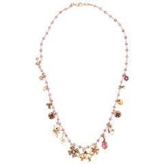 18 Karat Gold and Pink Tourmaline Bead Chain with 16 Stickpin Pendants
