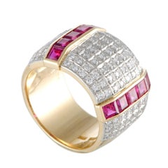 18 Karat Gold and Platinum Diamond and Ruby Invisible Setting Wide Band Ring