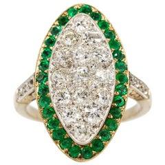 18 Karat Gold and Platinum Diamonds and Emeralds Ring