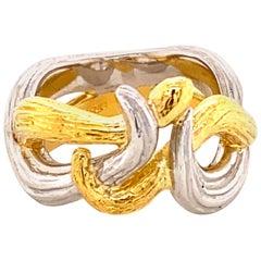 """18 Karat Gold and Platinum Gold """"Snake"""" Ring"""