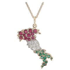 18 Karat Gold and Platinum Ruby Diamond Emerald Italy Pendant Necklace