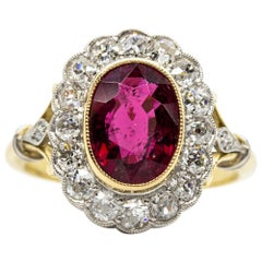 18 Karat Gold and Platinum Tourmaline and Diamonds Ring