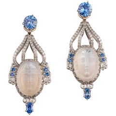 18 Karat Gold and Platinum Vintage Carved Moonstone Jackets and Sapphire Studs