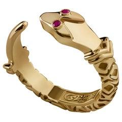18 Karat Gold and Ruby Snake Stacking Ring