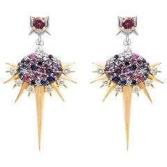 18 Karat Gold and Sapphire Diamond Spike Drop Earrings by Harlin Jones