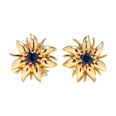 18 Karat Gold and Sapphire Flower Earrings