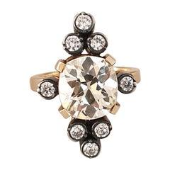 18 Karat Gold and Silver 4.23 Carat Old Cushion Diamond Ring