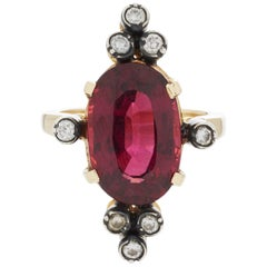 18 Karat Gold and Silver Diamond Rhodolite Garnet Antique Style Cocktail Ring