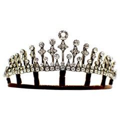 18 Karat Gold and Silver Diamond Tiara or Necklace 24 Carat 19th Century