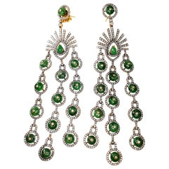 18 Karat Gold and Silver Earrings with Diamonds and Emeralds