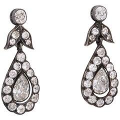 18 Karat Gold and Silver Georgian Era Diamond Pendant Earrings