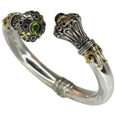 18 Karat Gold and Silver Peridot and Tourmaline Bracelet