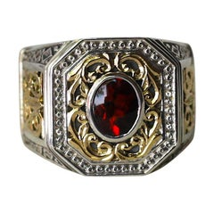 Georgios Collections 18 Karat Gold and Silver Ring with Garnet
