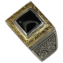 18 Karat Gold and Silver Ring with Onyx