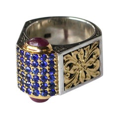 Georgios Collections 18 Karat Gold and Silver Ring with Sapphire and Tourmalines