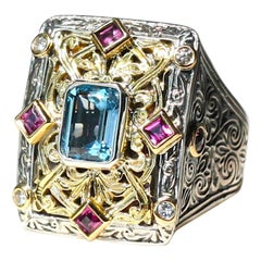 Georgios Collections 18 Karat Gold and Silver Ring with Tourmalines and Diamonds