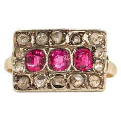 18 Karat Gold and Silver Rubies and Diamonds Ring