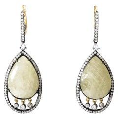 18 Karat Gold and Stainless Steel Yellow Sapphire Diamond Earrings ER3860