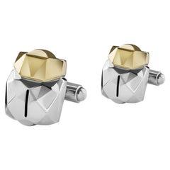 18 Karat Gold and Sterling Silver 3D Scarab Cufflinks