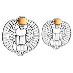 18 Karat Gold and Sterling Silver Abstract Scarab Earrings