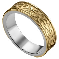18 Karat Gold and Sterling Silver Classic Calligraphy Band Ring