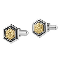"""18 Karat Gold and Sterling Silver Classic Calligraphy """"Guardian"""" Cufflinks"""