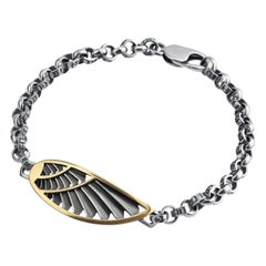 18 Karat Gold and Sterling Silver Men's Wing Bracelet