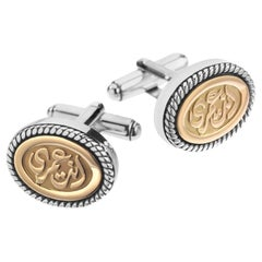"18 Karat Gold and Sterling Silver ""My Eternity"" Classic Calligraphy Cufflinks"