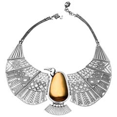 18 Karat Gold and Sterling Silver Nekhbet Vulture Collar