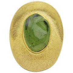 18 Karat Gold and Tourmaline Brooch Pin by Haroldo Burle Marx