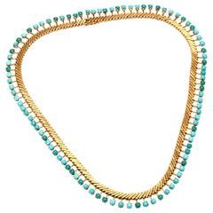 18 Karat Gold and Turquoise Fringe Necklace, circa 1960s