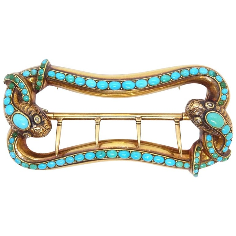 18 Karat Gold and Turquoise Snake Belt Buckle, circa 1845 For Sale