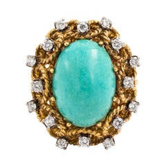 18 Karat Gold and Turquoise with Diamonds Cocktail Ring