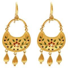 18 Karat Gold and Vegetal Enamel Decoration Earrings