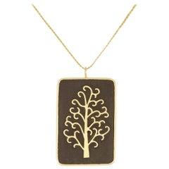 18 Karat Gold and Wood Inlay Tree Pendant on Cord