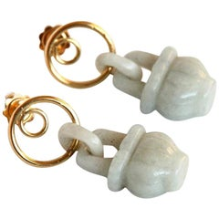 18 Karat Gold Antique Jade Earrings