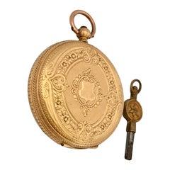 18 Karat Gold Antique Key-Wind Ladies Pocket Watch