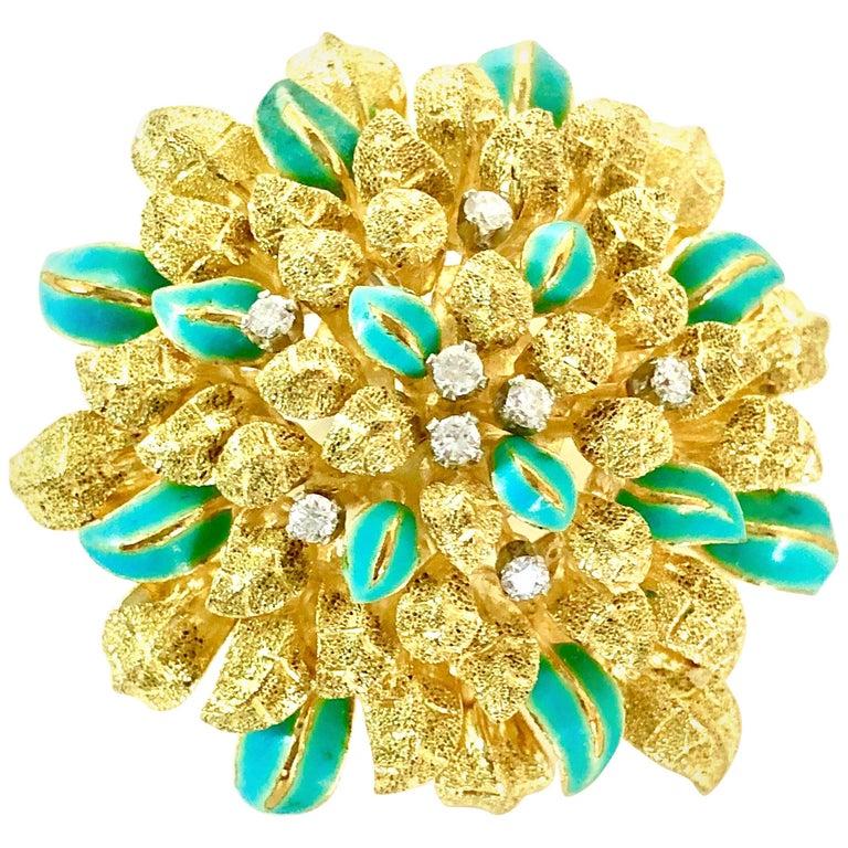 18 Karat Gold Aqua Enameled Handmade Flower, Zinnia Brooch with Loop for Pendant For Sale