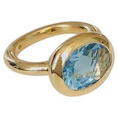 18 Karat Gold Aqua Marine Ring