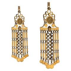 18 Karat Gold, Aquamarine and Diamond Iconic Suma Chandelier Earrings