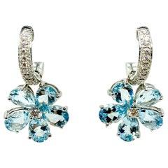 18 Karat Gold Aquamarine and Diamonds Earrings