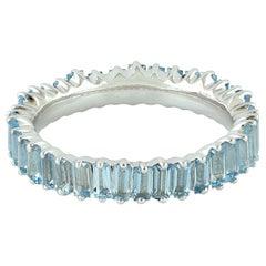 18 Karat Gold Aquamarine Baguette Ring