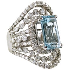 Emerald Cut Aquamarine Cocktail Ring, 6.5 Carat