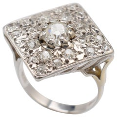 Antique Diamond Ring 1.10 Carats Old Cut Diamonds, 18 Karat White Gold