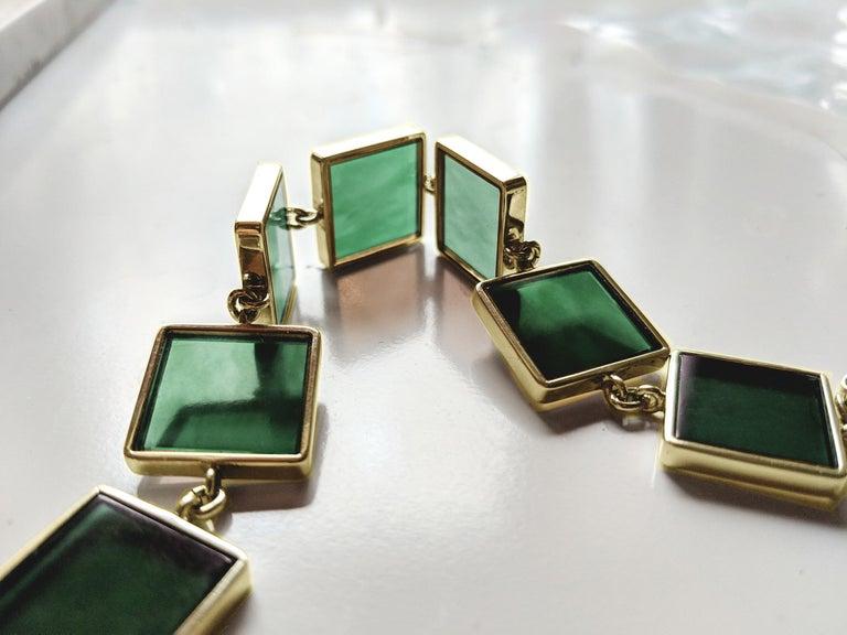 18 Karat Gold Art Deco Bracelet with Dark Green Quartzes, Featured in Vogue For Sale 6